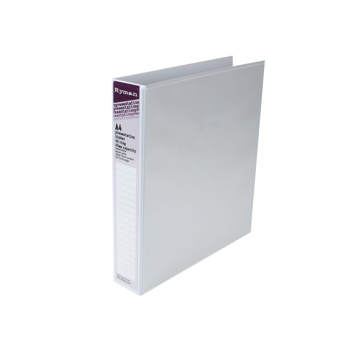 Ryman Presentation Ring Binder A4 4D Ring 40mm White
