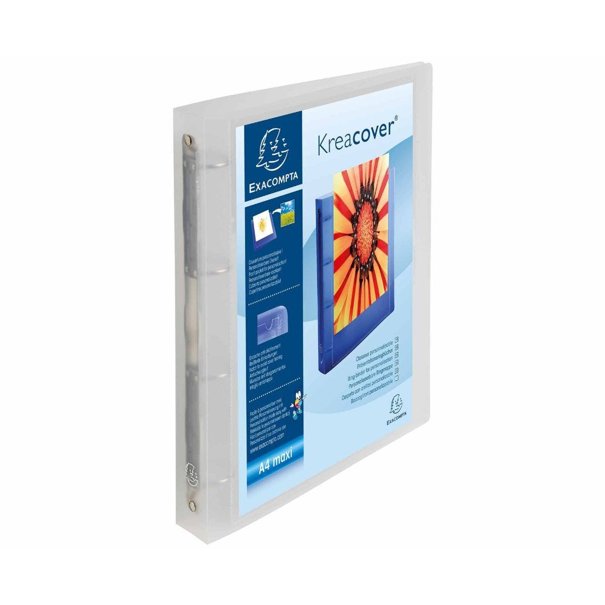 Exacompta  Kreacover Chromaline Ring Binder A4 Plus Pack of 12 Clear clear