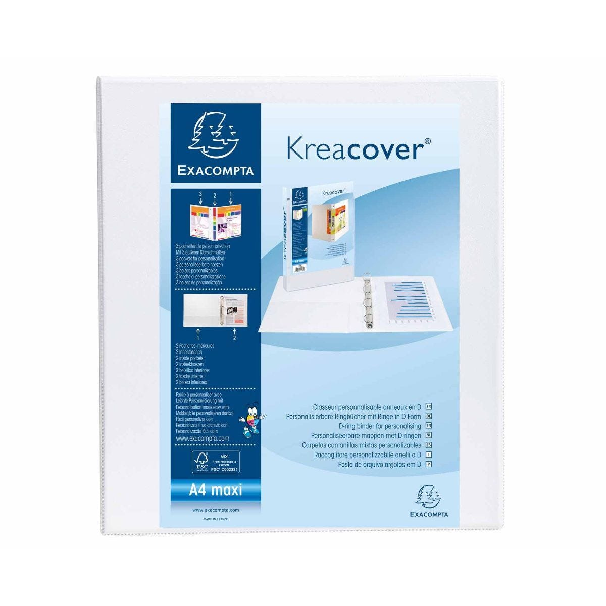 Exacompta Kreacover Ring Binder 4 D Rings 40mm A4 Plus Pack of 10 White