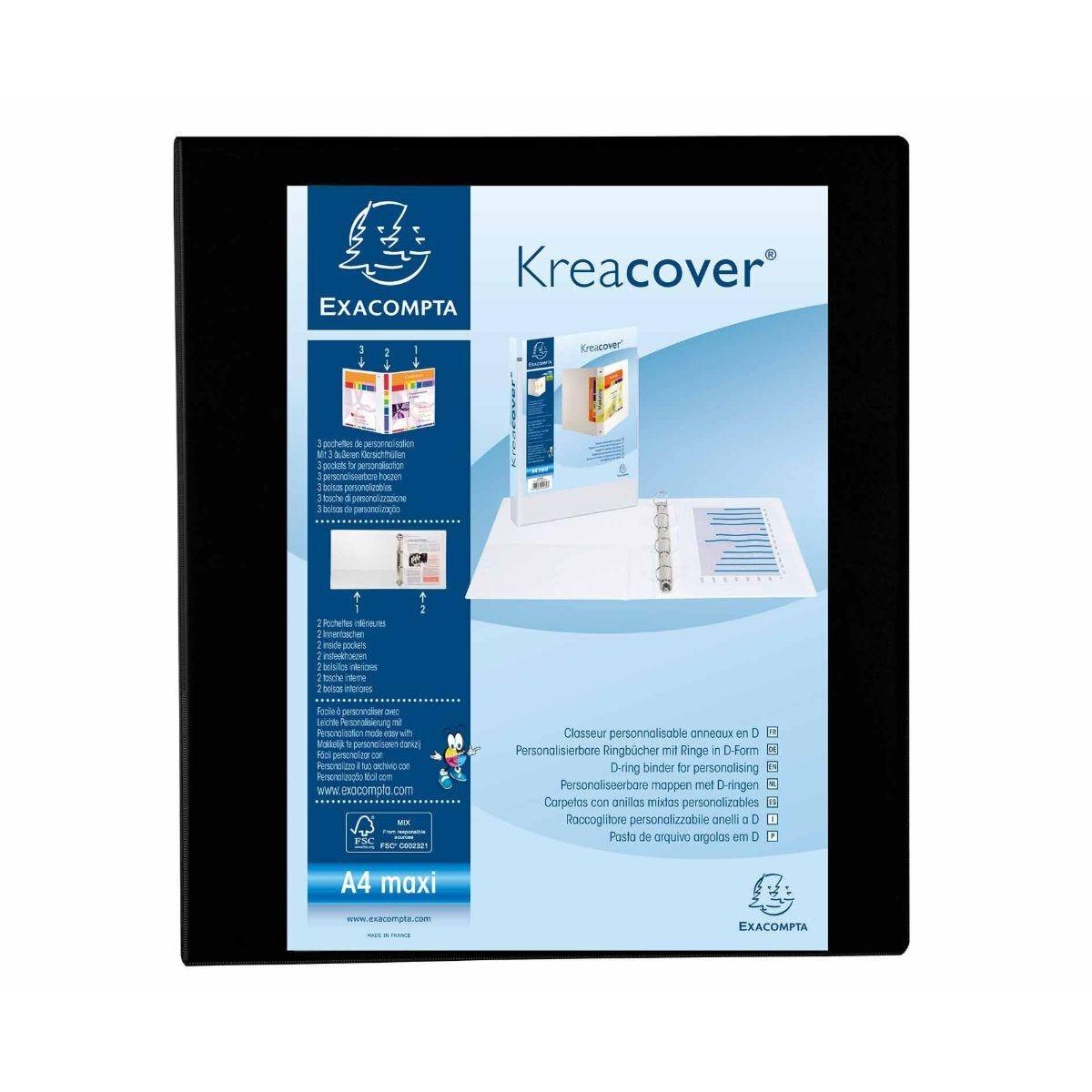 Exacompta Kreacover Ring Binder 4 D Rings 40mm A4 Plus Pack of 10 Black