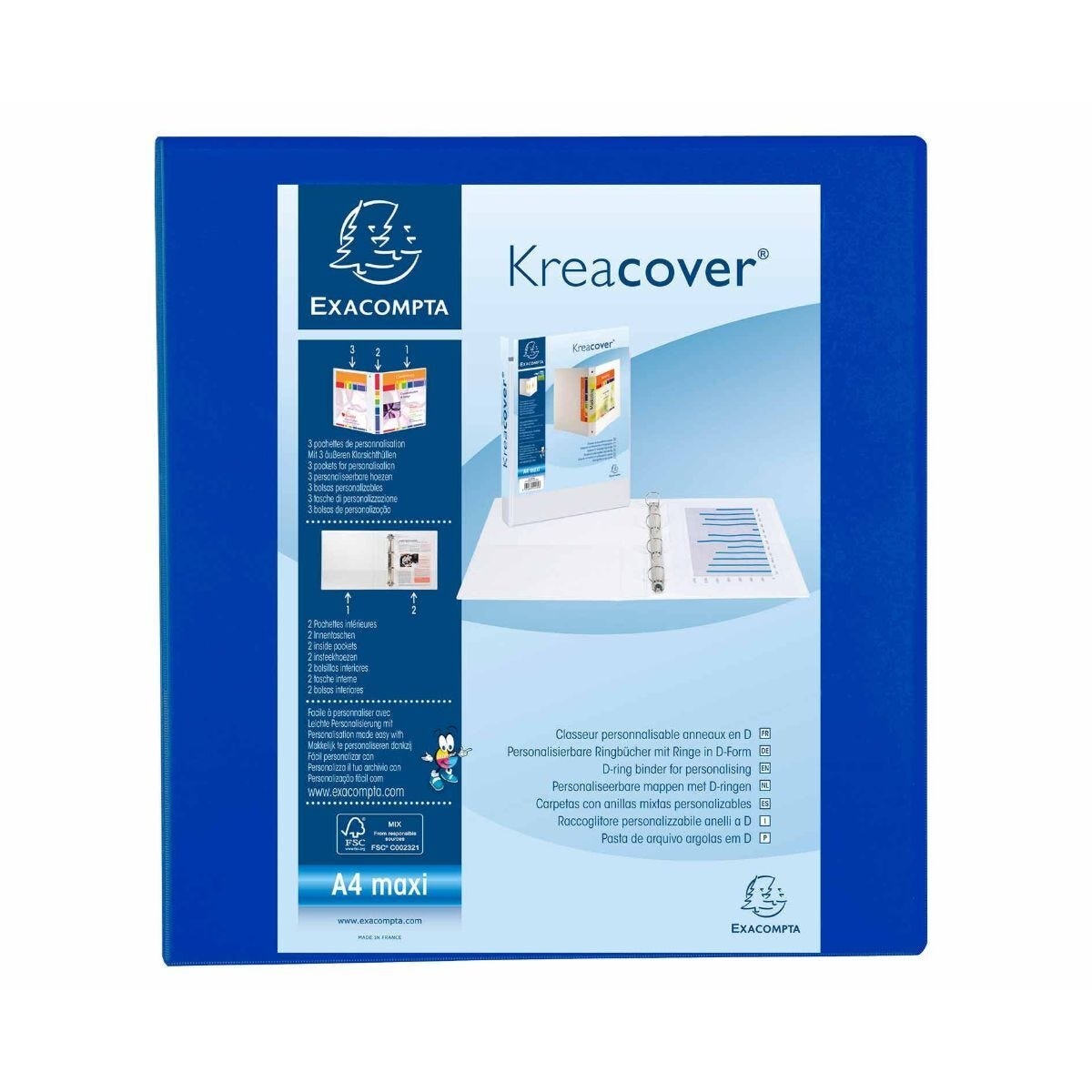 Exacompta Kreacover Ring Binder 4 D Rings 60mm A4 Plus Pack of 10 Blue