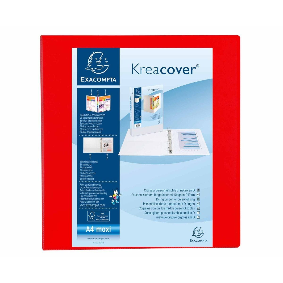 Exacompta Kreacover Ring Binder 4 D Rings 60mm A4 Plus Pack of 10 Red