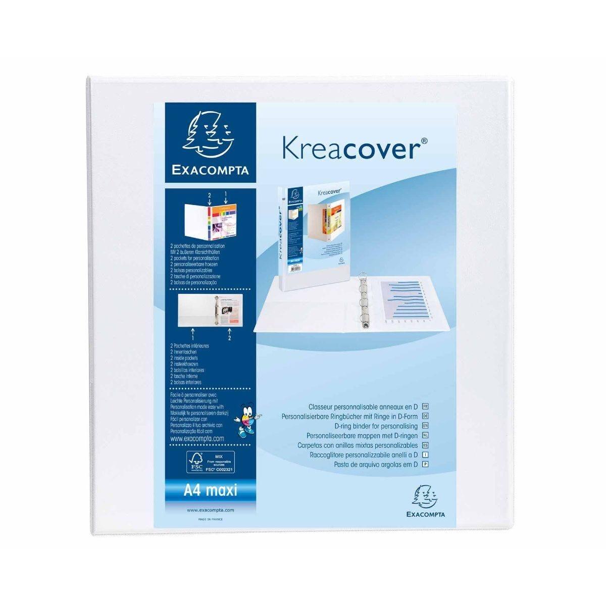 Exacompta Kreacover Ring Binder 4 D Rings 60mm A4 Plus Pack of 10 White