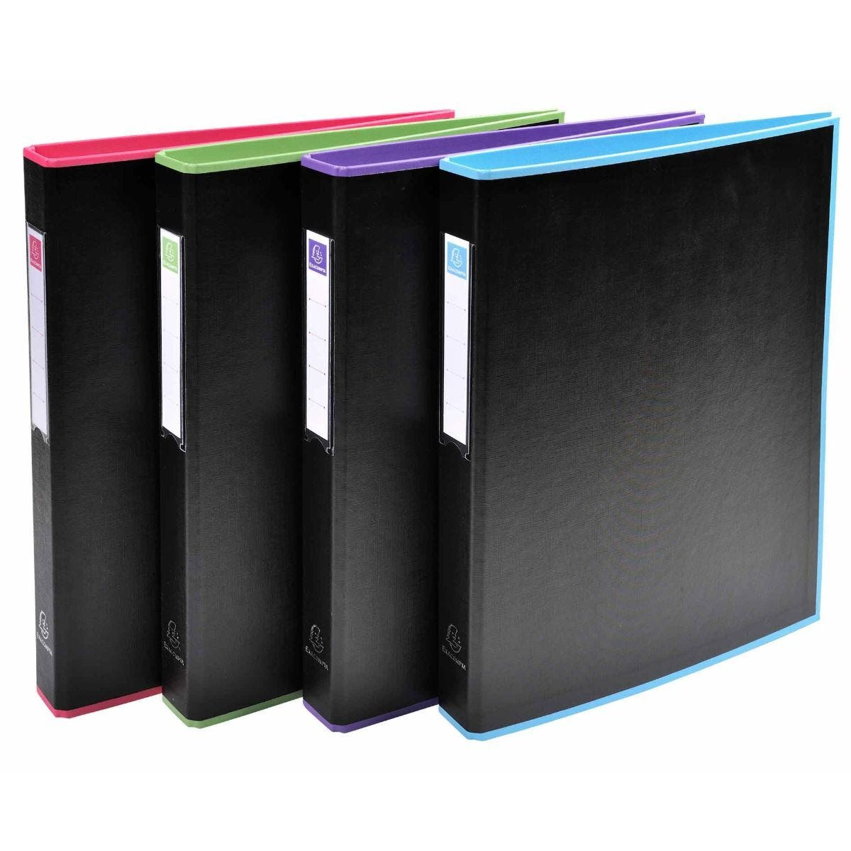 Exacompta Black Office Ring Binder 2 Rings 30mm A4 Pack of 10 Assorted