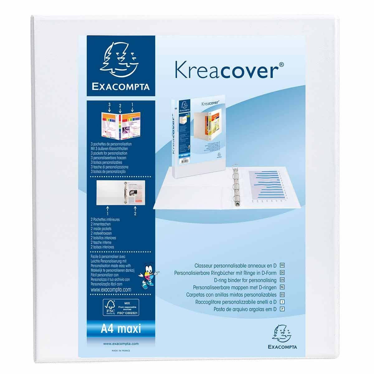 Exacompta Kreacover Personalised Ring Binder 2 Ring 40mm A4 Plus Pack of 10