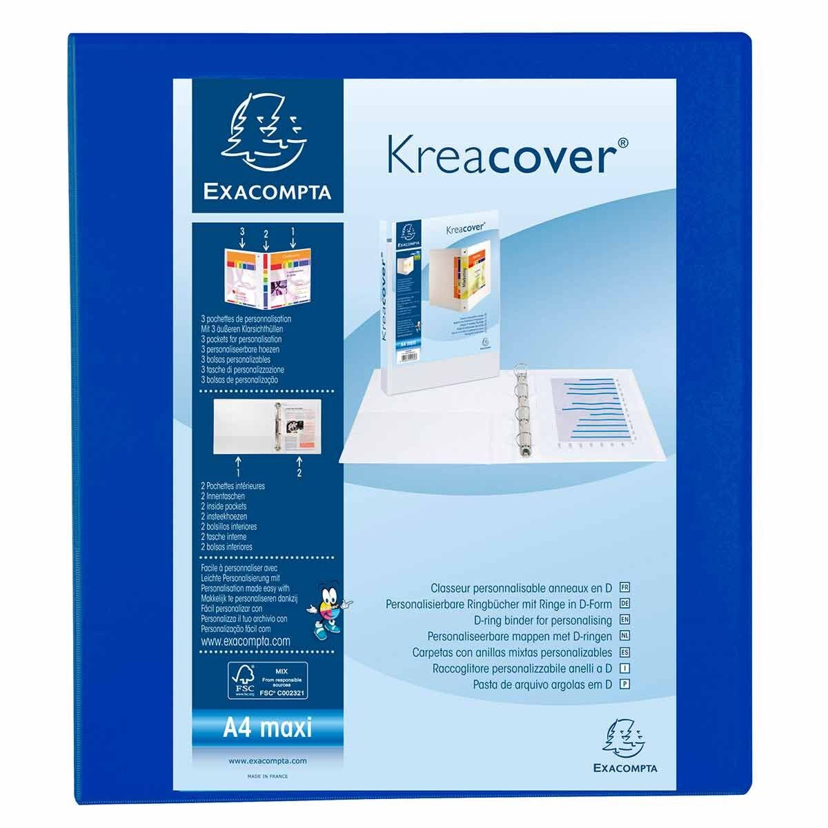 Exacompta Kreacover Ring Binder 4 D Rings 50mm A4 Pack of 10 Blue