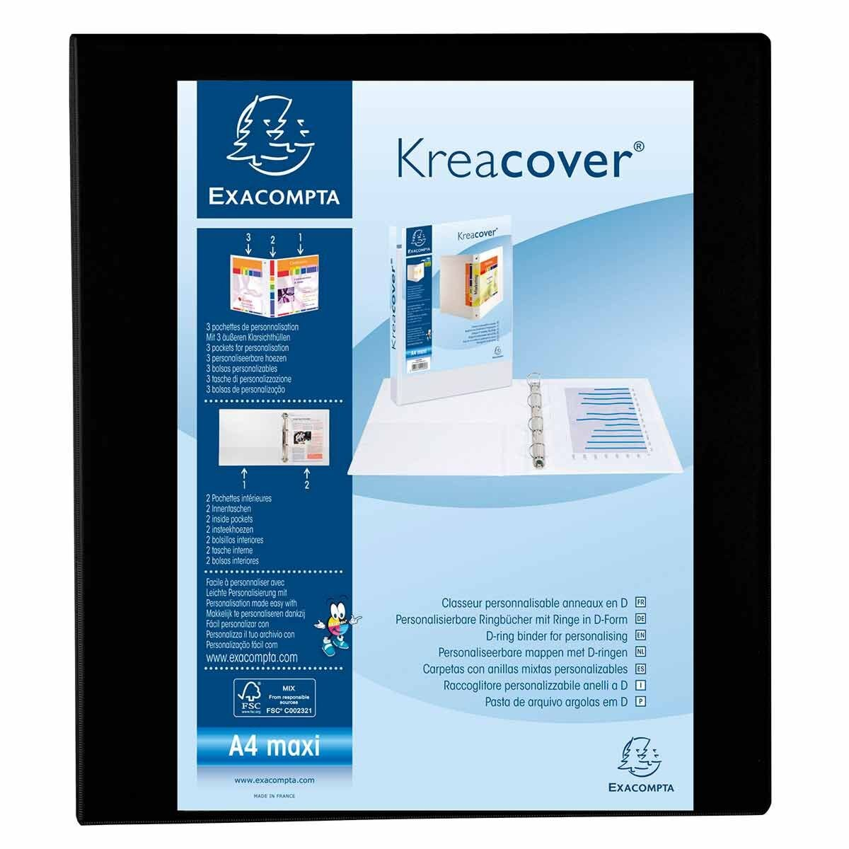 Exacompta Kreacover Ring Binder 4 D Rings 50mm A4 Pack of 10 Black