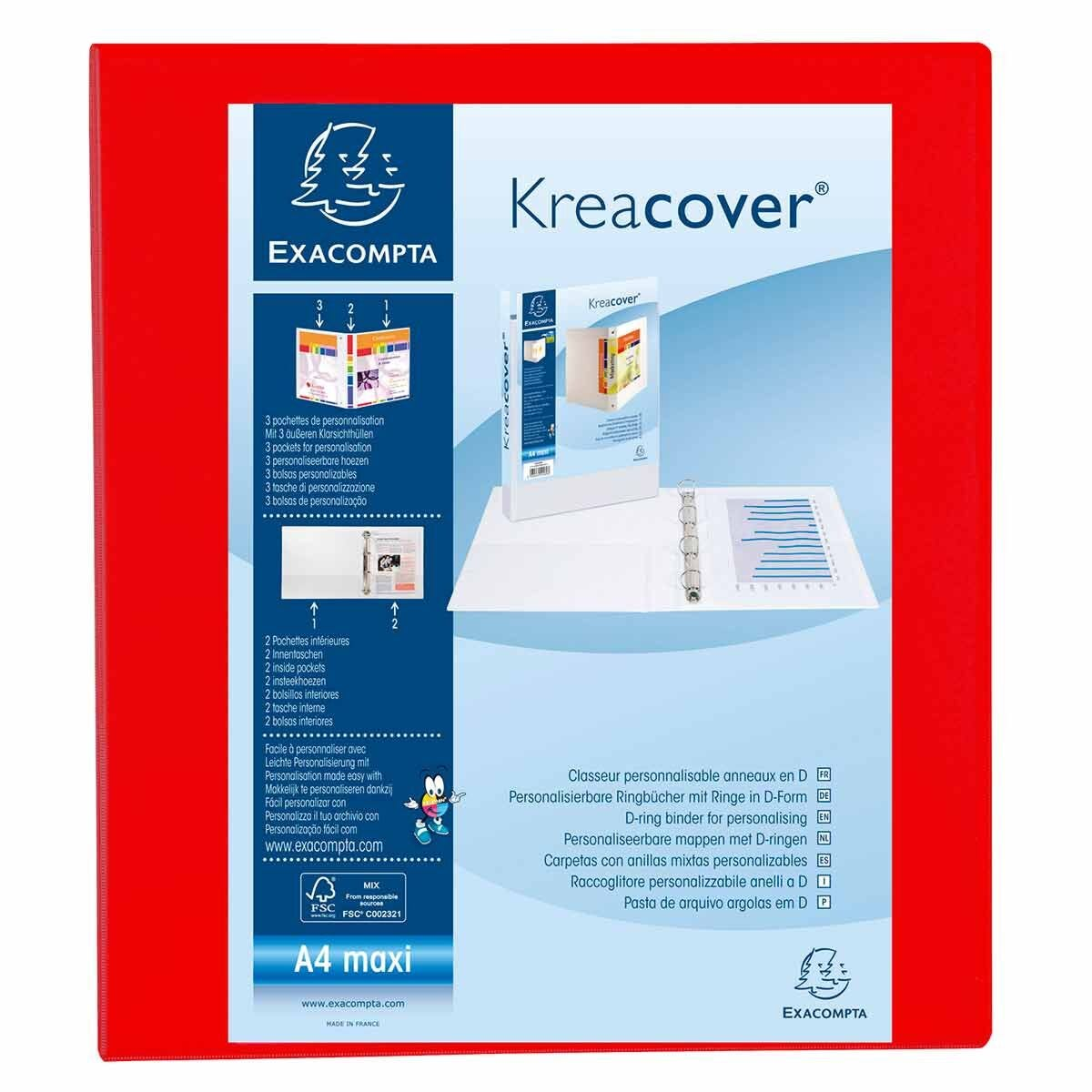 Exacompta Kreacover Ring Binder 4 D Rings 50mm A4 Pack of 10 Red