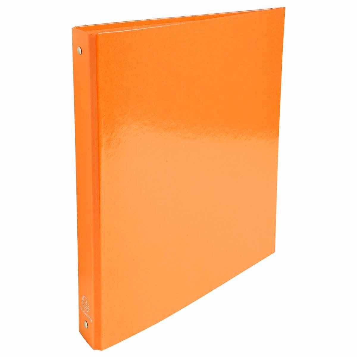 Exacompta Iderama Plastic Coated Ring Binder 4 Ring 30mm A4 Pack of 10 Orange