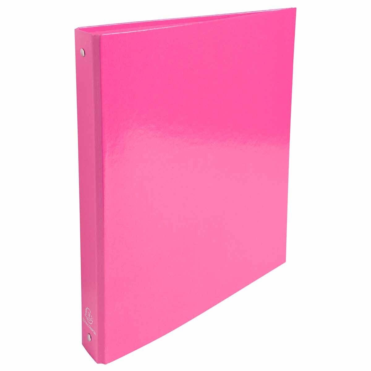 Exacompta Iderama Plastic Coated Ring Binder 4 Ring 30mm A4 Pack of 10 Pink