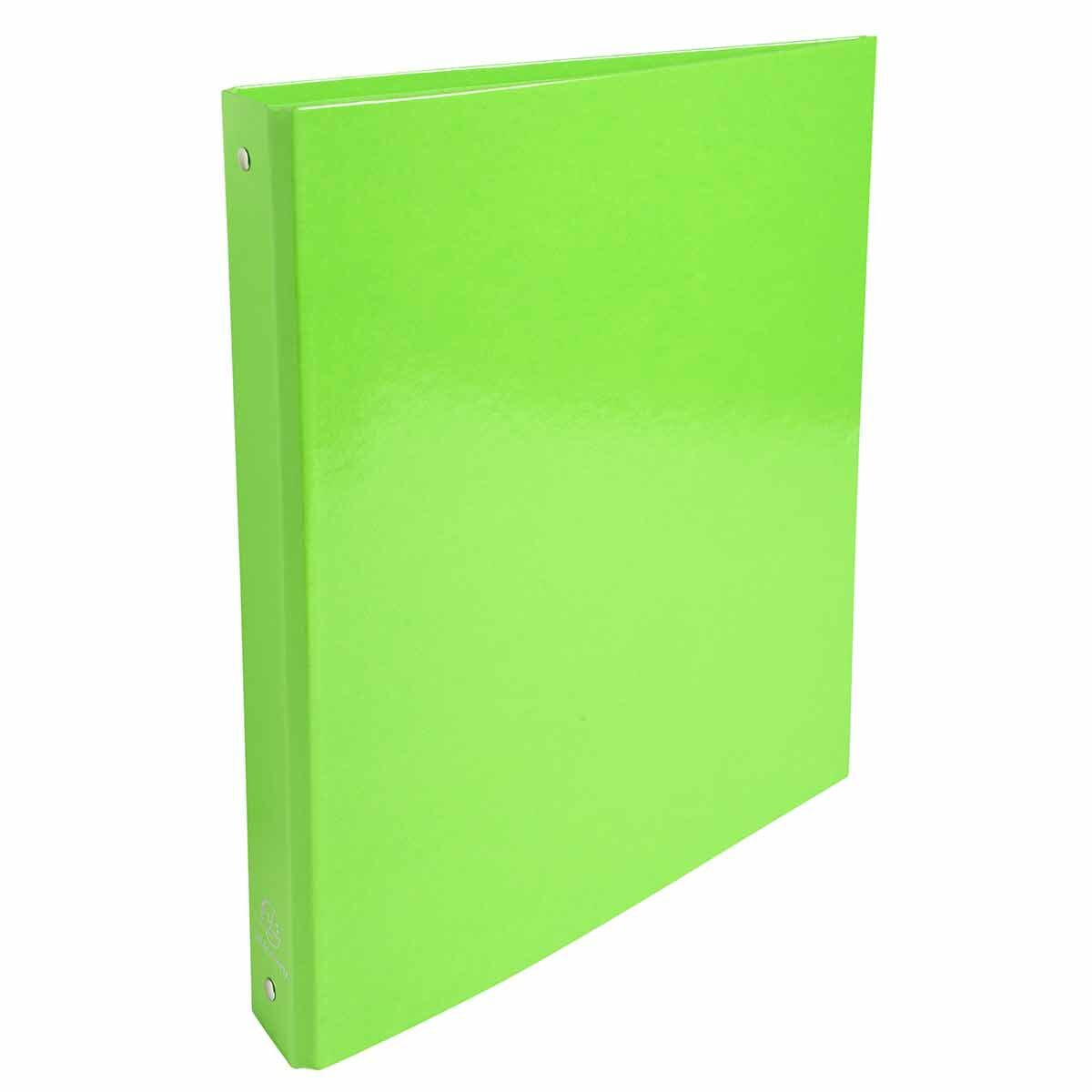 Exacompta Iderama Plastic Coated Ring Binder 4 Ring 30mm A4 Pack of 10 Lime