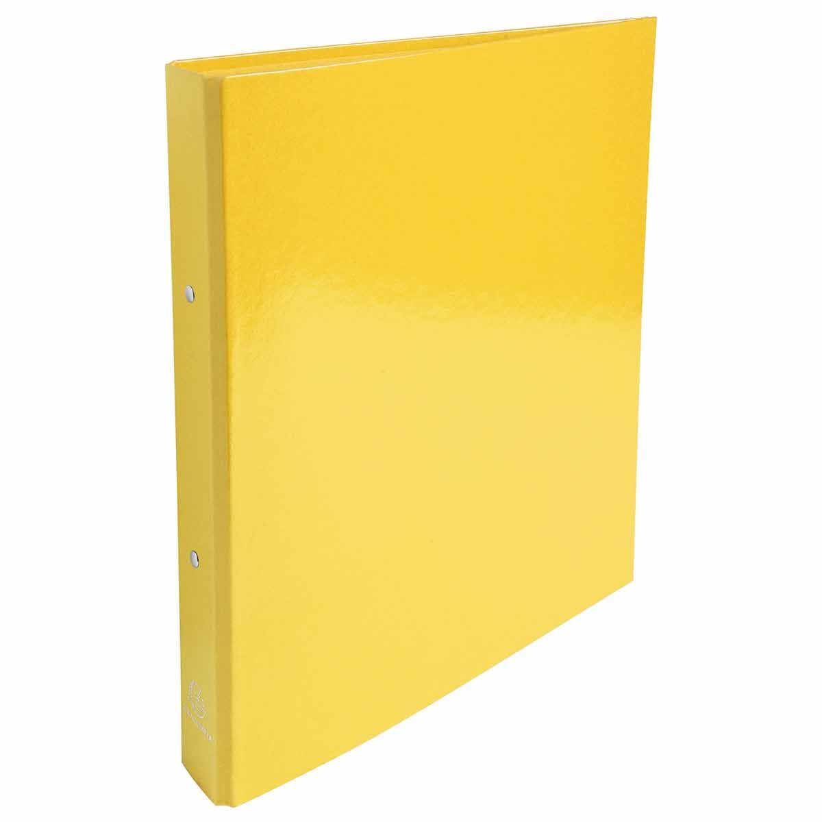 Exacompta Iderama Plastic Coated Ring Binder 2 Ring 30mm A4 Pack of 10 Yellow