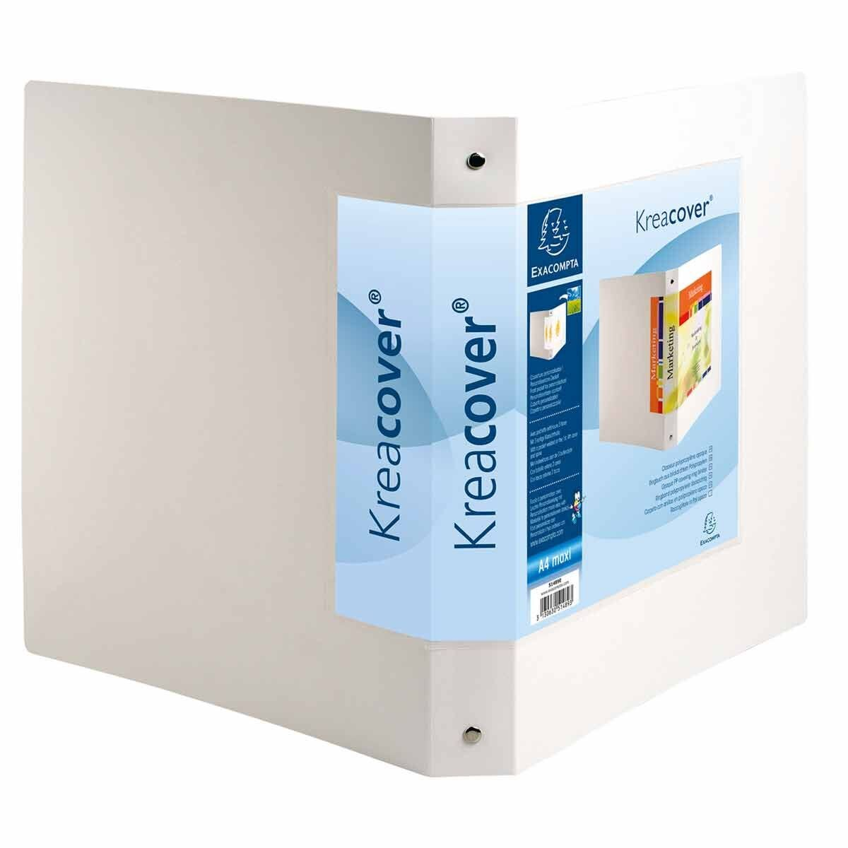 Exacompta Kreacover Opaque Ring Binder A4 Plus 4 Rings 30mm Pack of 5 White