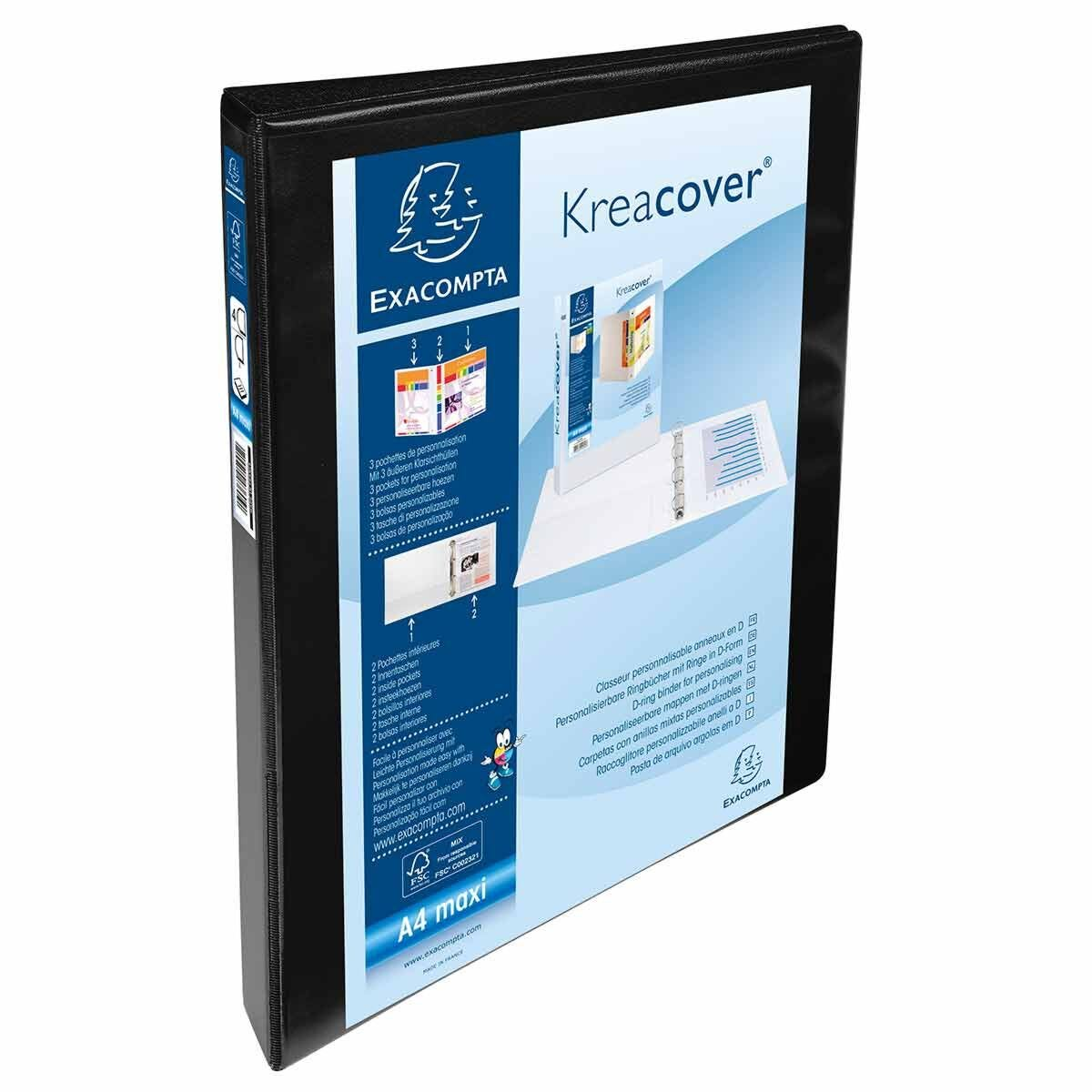 Exacompta Kreacover Personal Ring Binder A4 Plus 4 Rings 15mm 3 Pockets Pack of 10 Black
