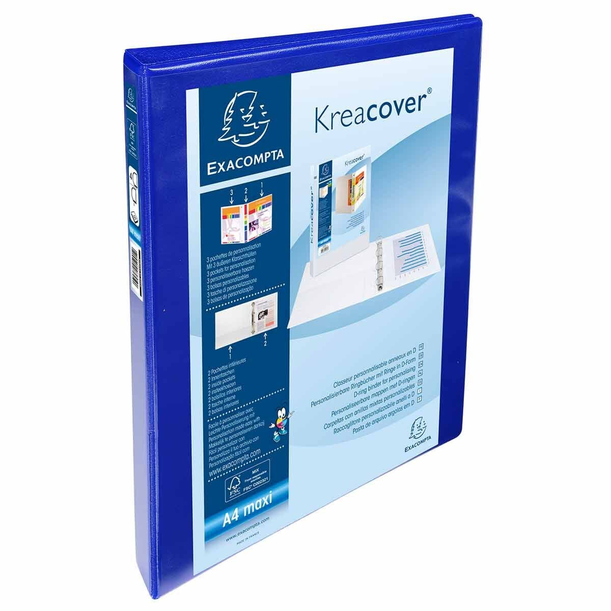 Exacompta Kreacover Personal Ring Binder A4 Plus 4 Rings 20mm 3 Pockets Pack of 10 Blue