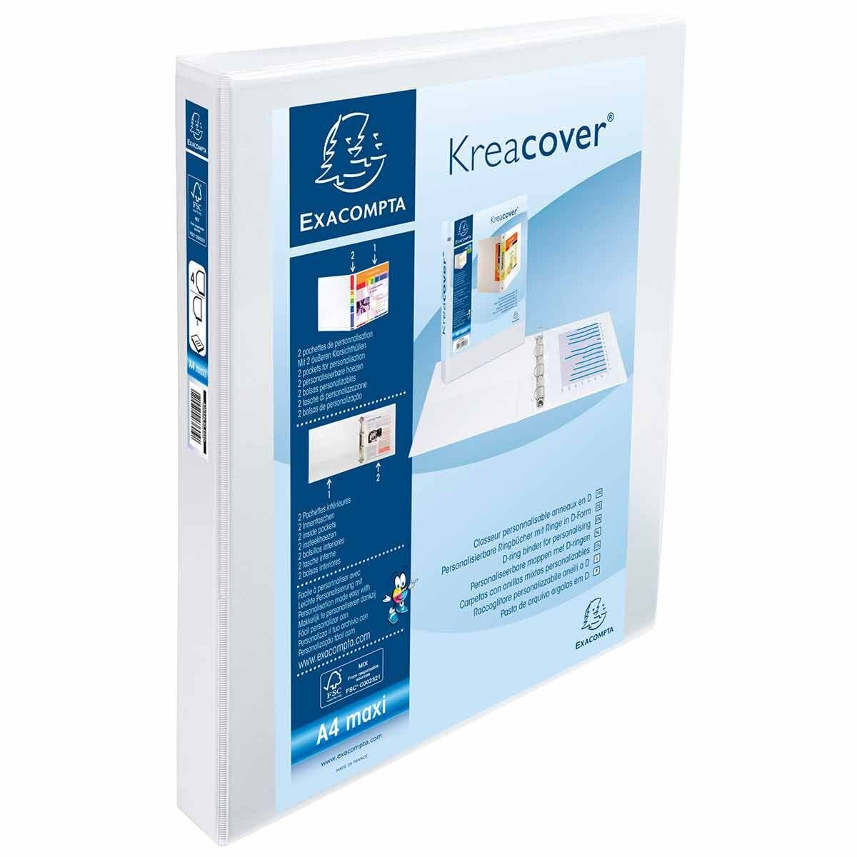Exacompta Kreacover Personal Ring Binder A4 Plus 4 Rings 30mm 2 Pockets Pack of 10 White