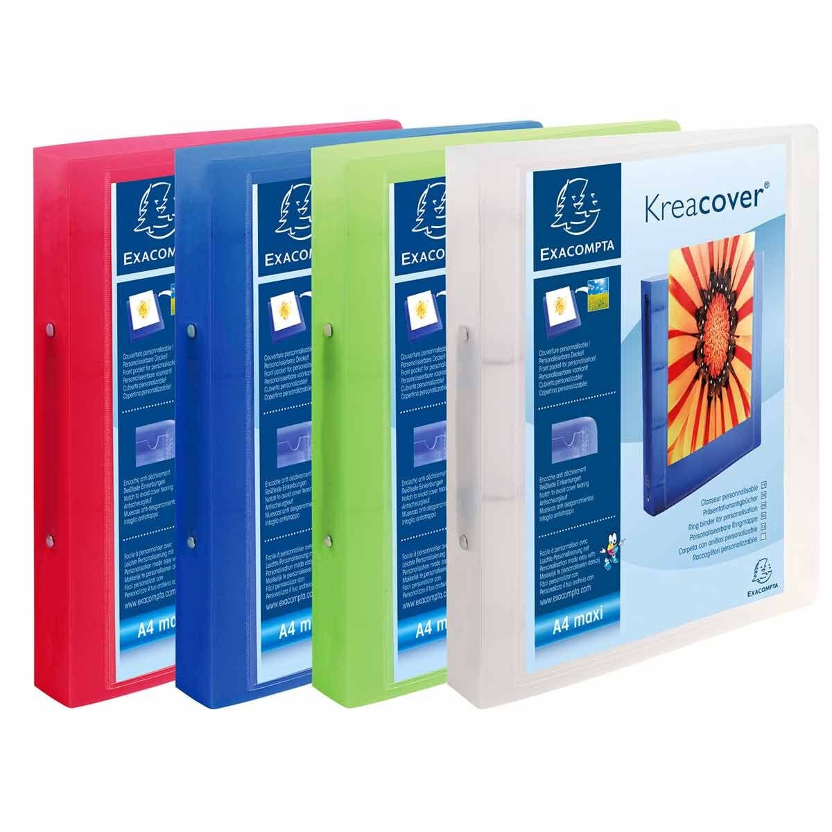 Exacompta Kreacover Chromaline Ring Binder A4 Plus 2 Ring Pack of 12 Assorted