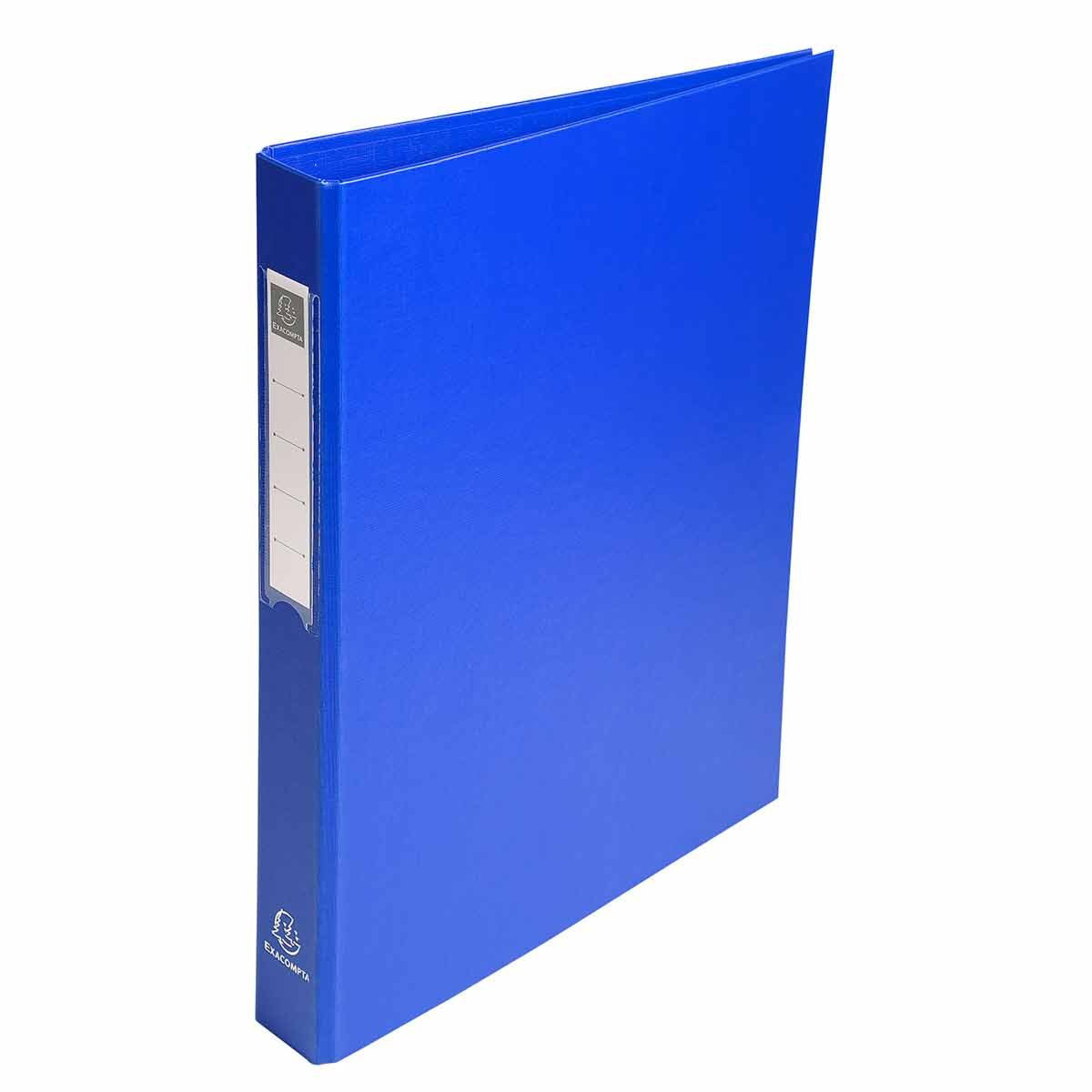 Exacompta PP Ring Binder A4 4 Rings 25mm Label on Spine Pack of 10 Blue