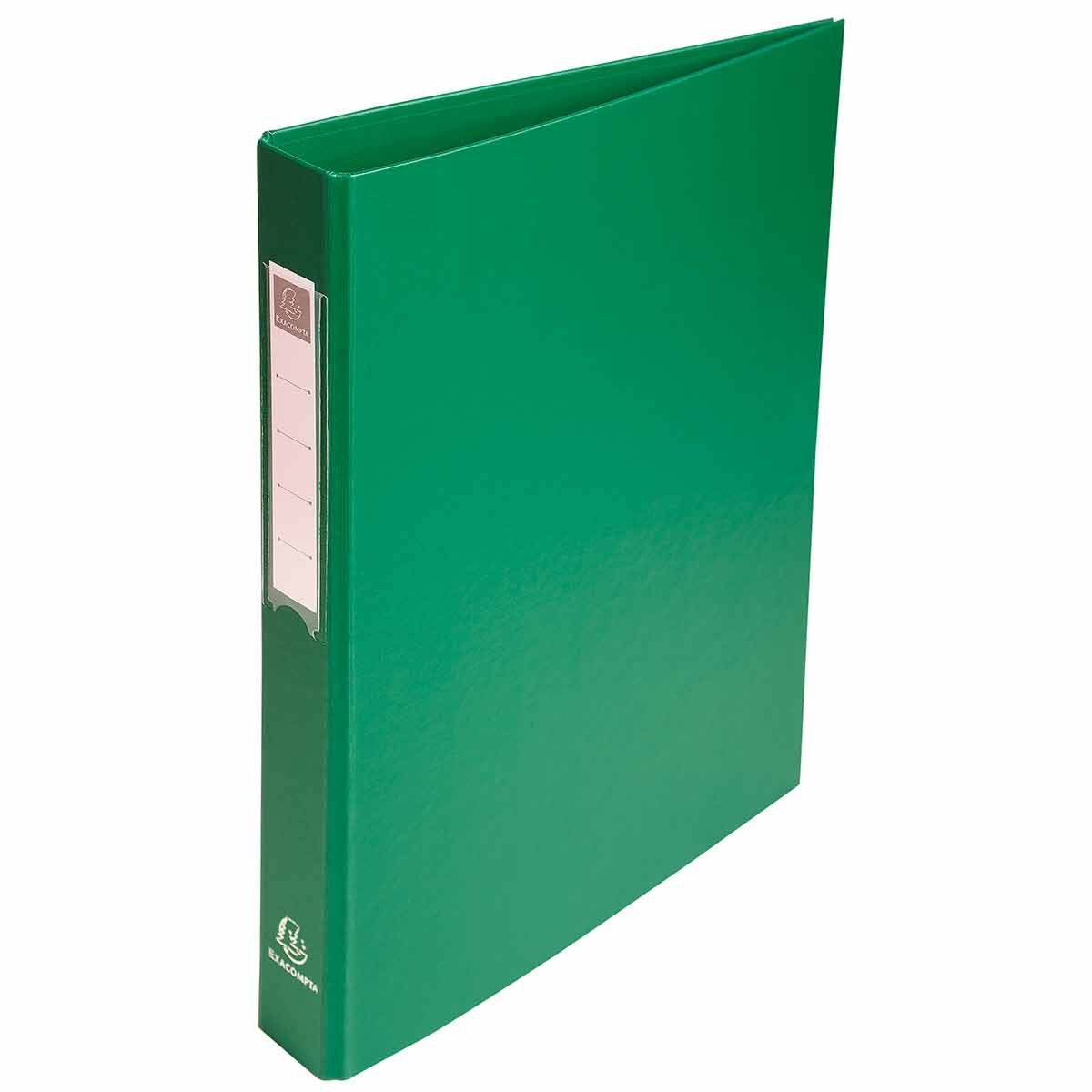 Exacompta PP Ring Binder A4 4 Rings 25mm Label on Spine Pack of 10 Green