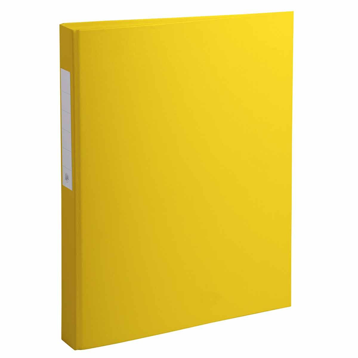 Exacompta PP Ring Binder A4 4 Rings 25mm Label on Spine Pack of 10 Yellow