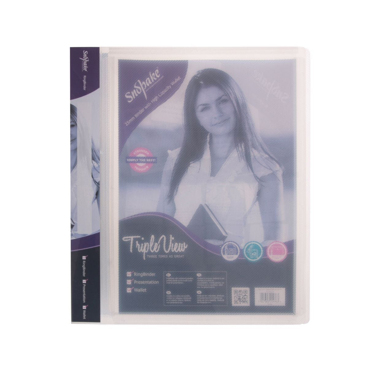 Snopake Triple View Ringbinder A4 2 Ring 25mm Clear