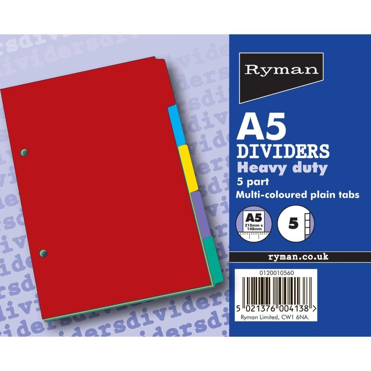 Ryman 5 Part Dividers A5 Plain