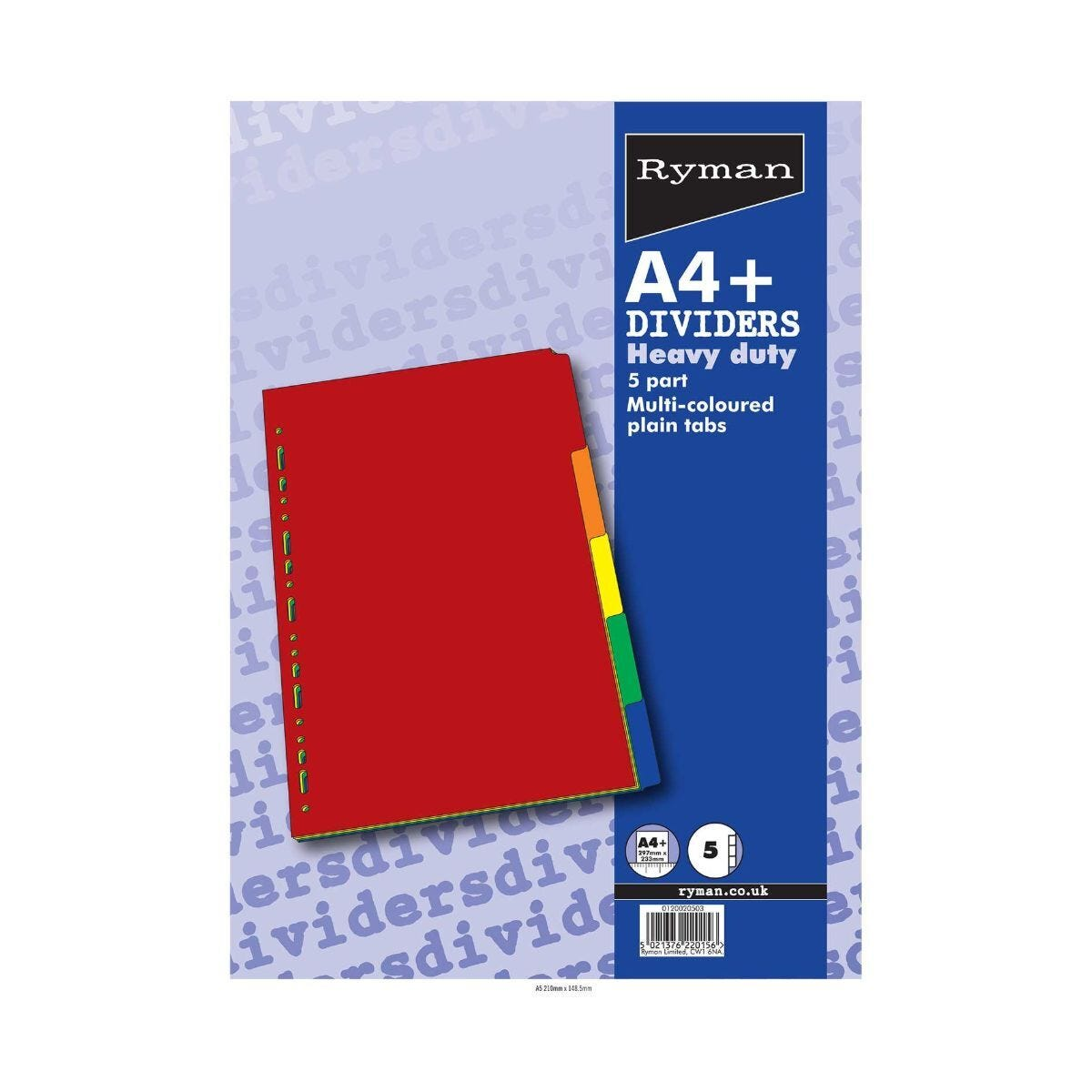 Ryman Extra Wide Dividers Heavy Duty Bright Colours 5 Part A4