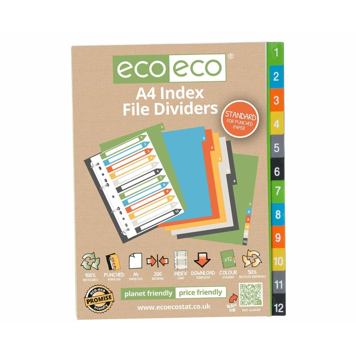 eco eco 6 Colour Dividers A4 Pack of 12