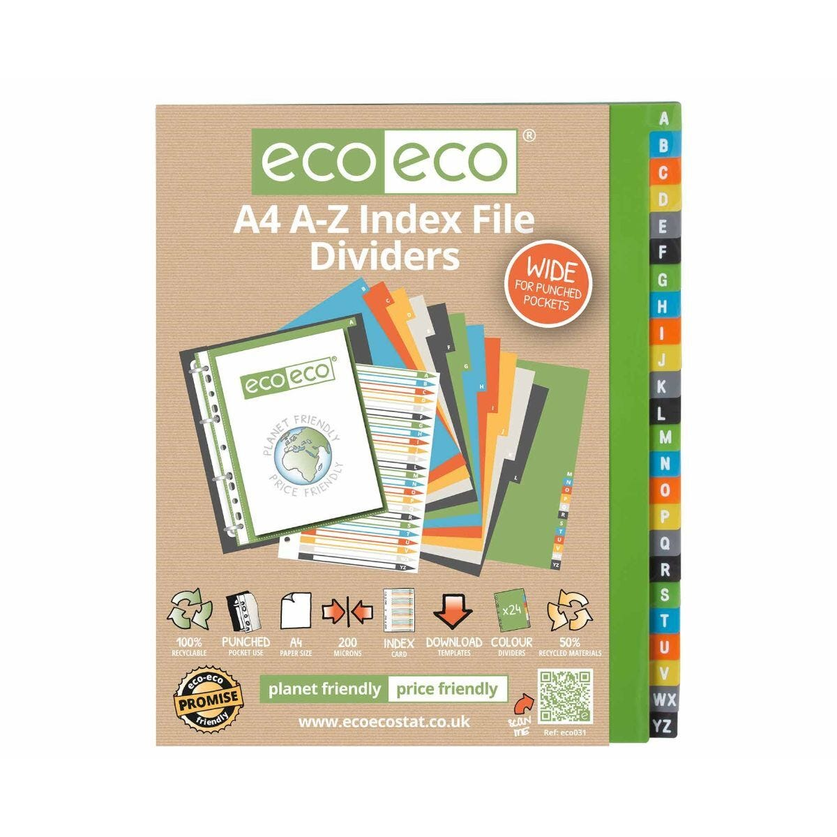 eco eco A-Z Dividers 6 Colours A4 Pack of 24