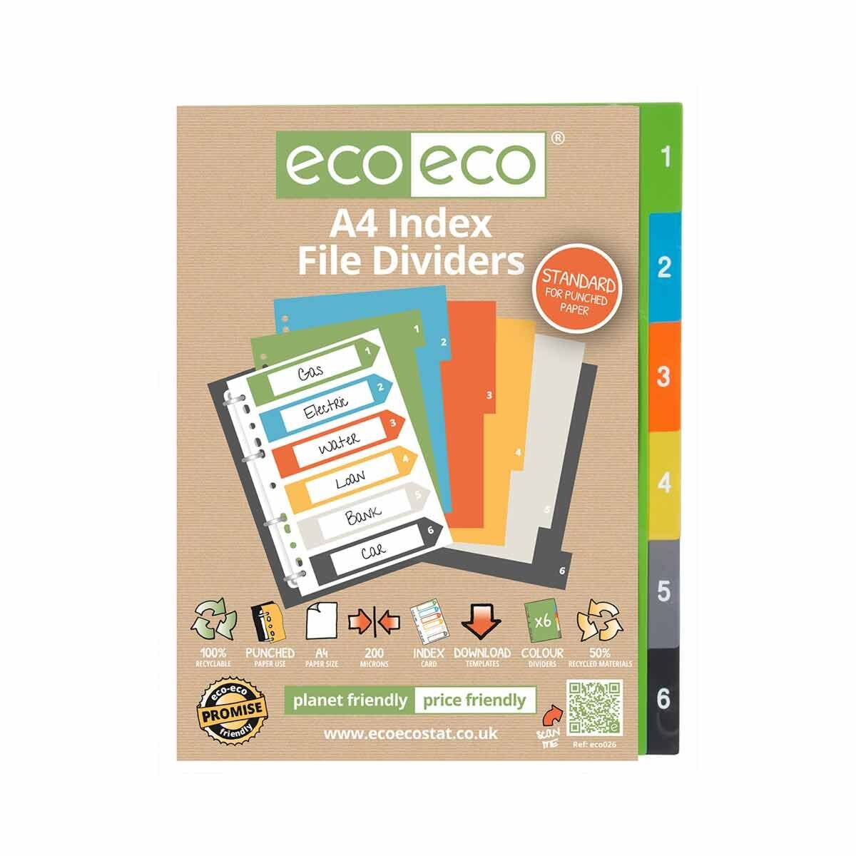 eco eco Numbered Index File Dividers A4 Pack of 6