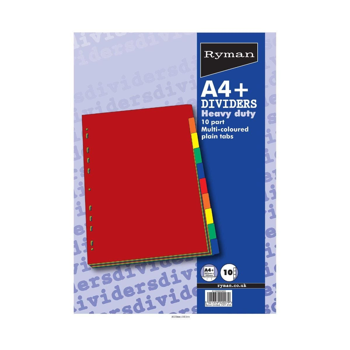 Ryman Extra Wide Heavy Duty Dividers Bright Colours 10 Part A4
