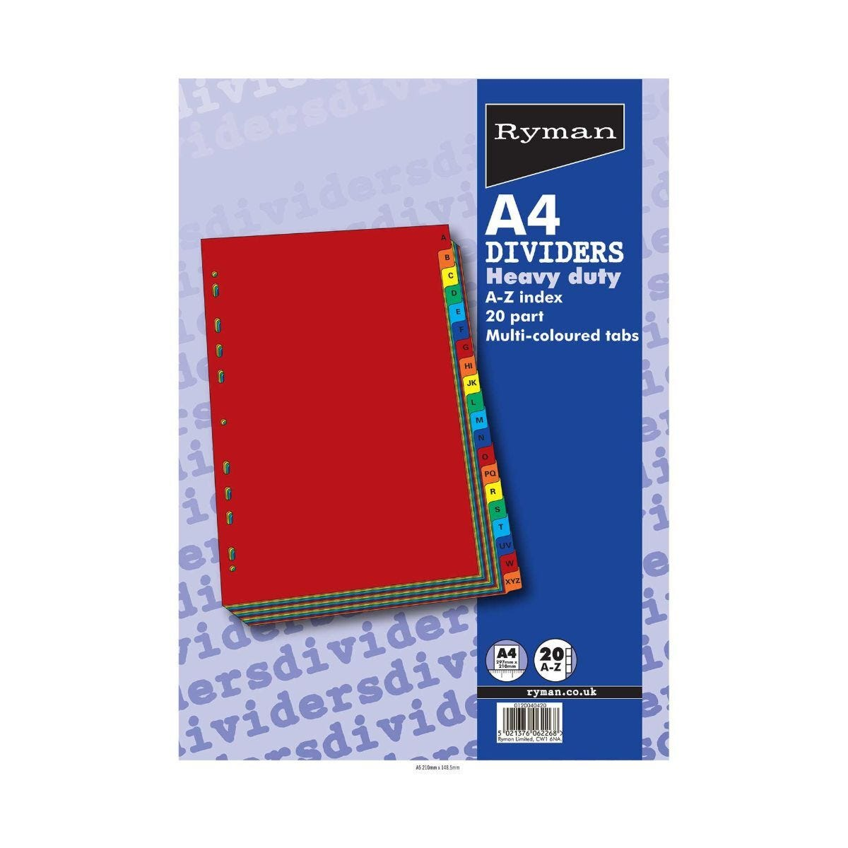 Ryman Tab Dividers Heavy Duty A-Z 20 Part A4 240gsm