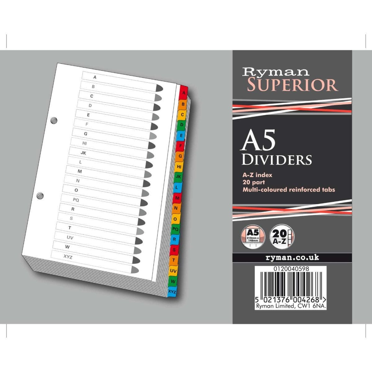 Ryman A to Z Dividers A5 Coloured Tabs