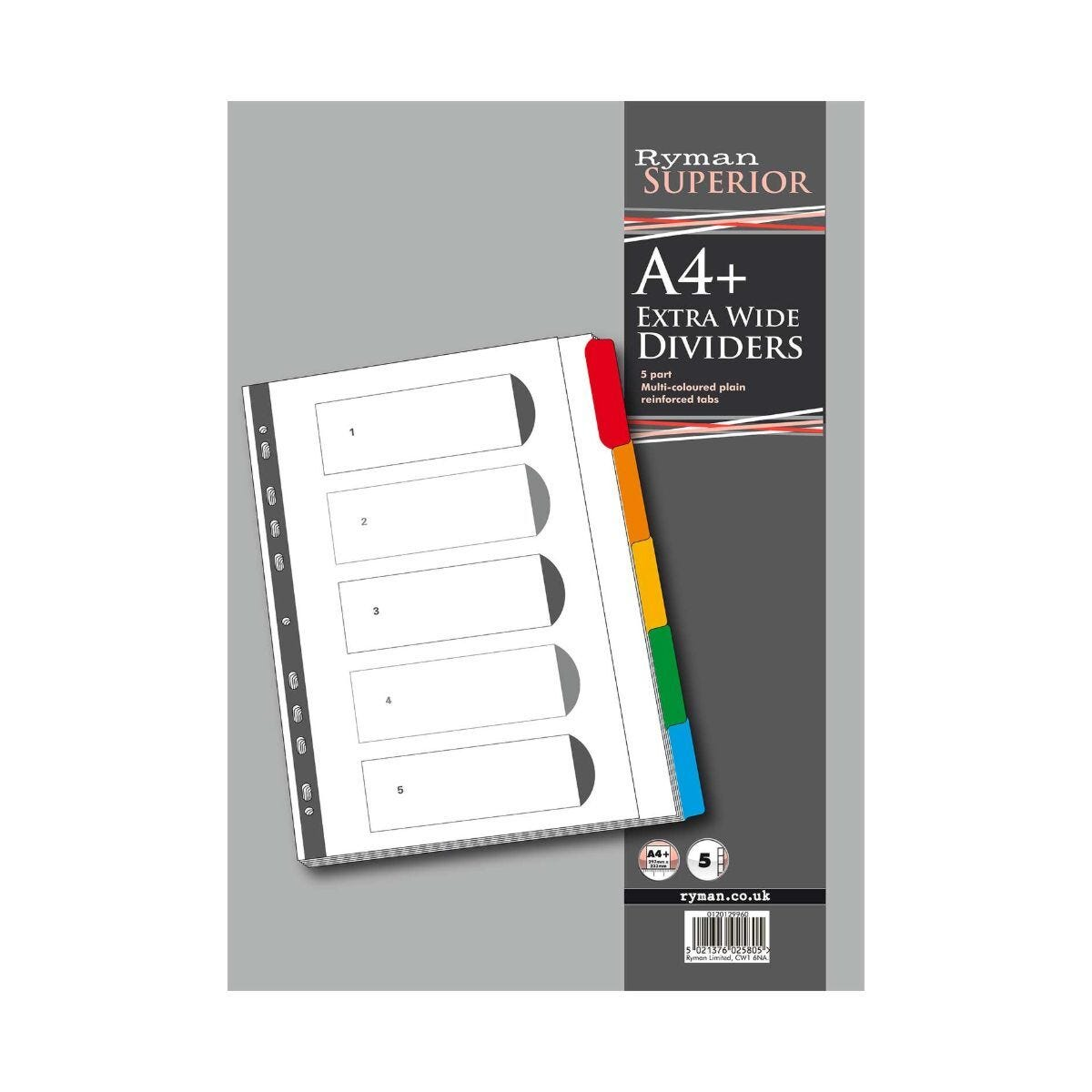 Ryman 5 Part Dividers Indexed Extra Wide Coloured Tab