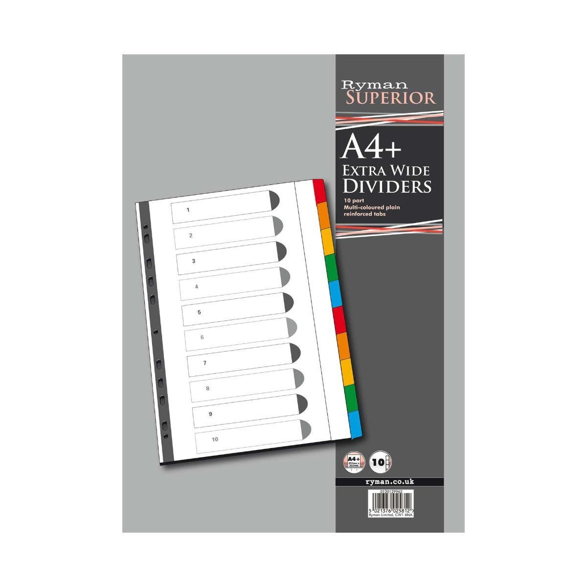 Ryman 10 Part Dividers A4 Extra Wide Polypropylene Coloured Tabs