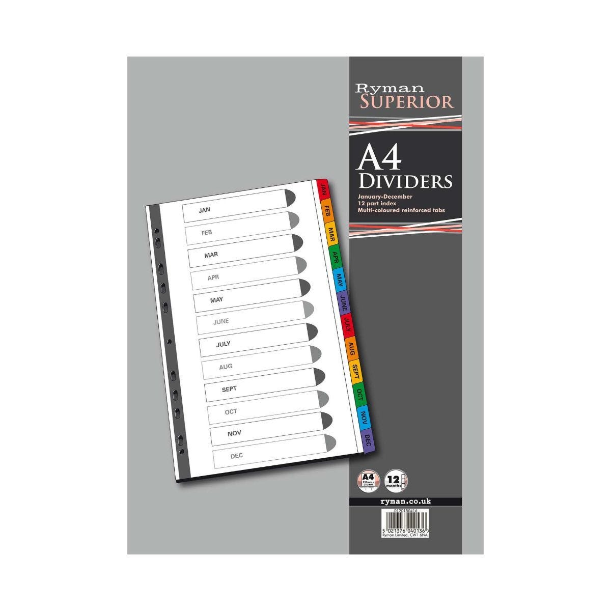 Ryman Jan - Dec Dividers A4