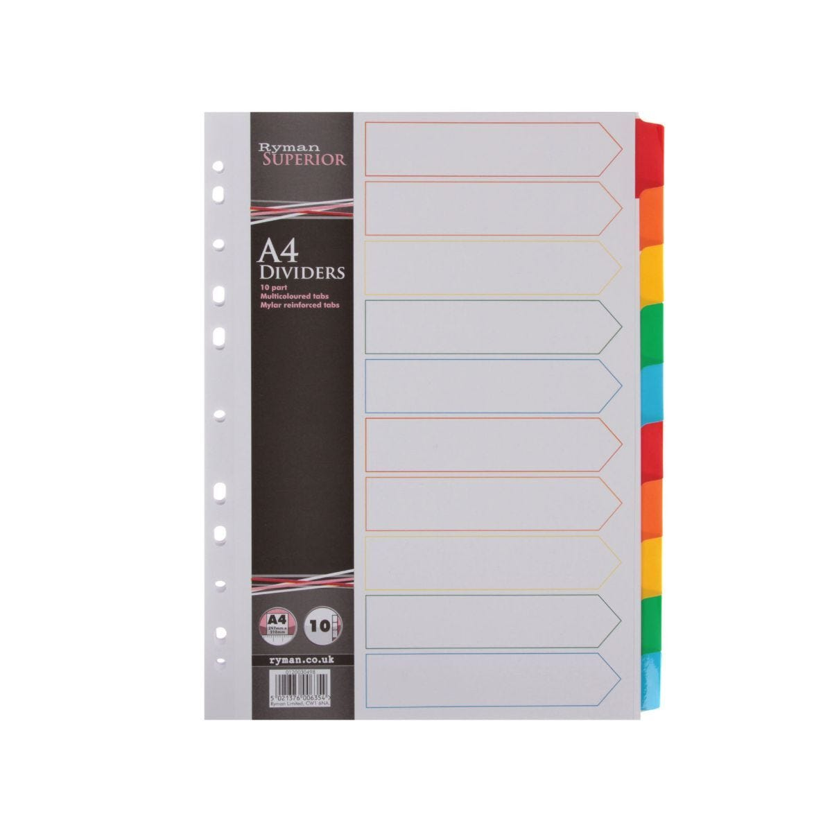 Ryman Index A4 10 Part Pack of 20 Multi