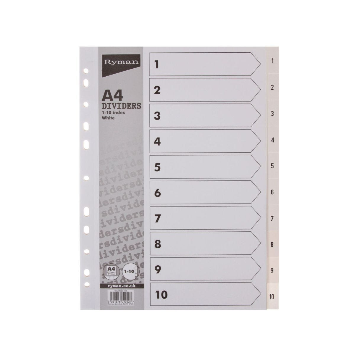 Ryman Index 1-10 A4 Pack of 10 White