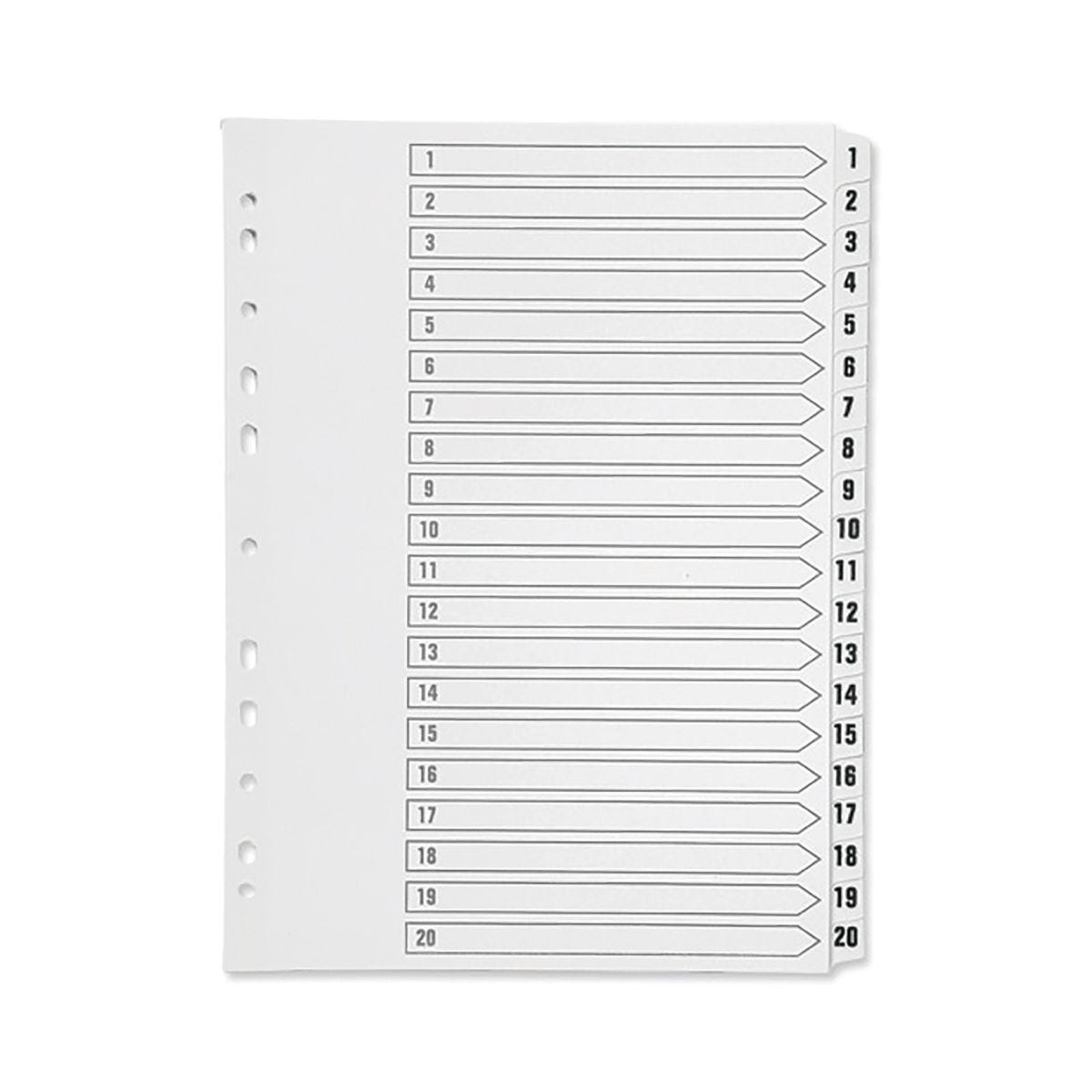 Q-Connect 1-20 A4 Multi-Punched Reinforced Divider White