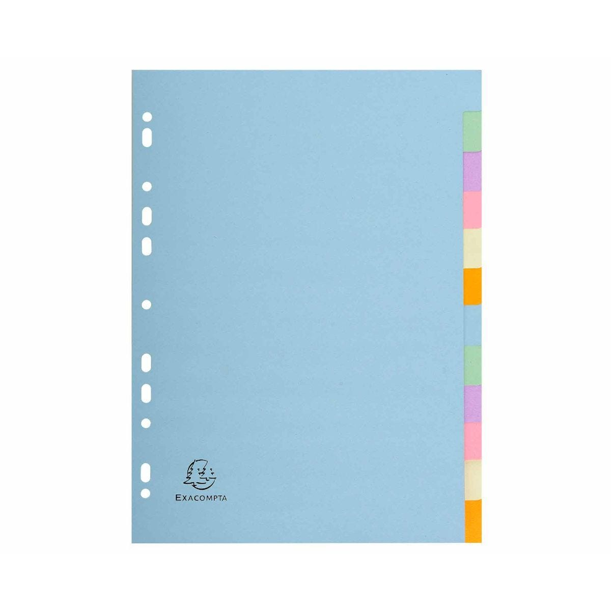 Exacompta Forever Dividers 12 Part A4 170gsm Pack of 25 Pastel