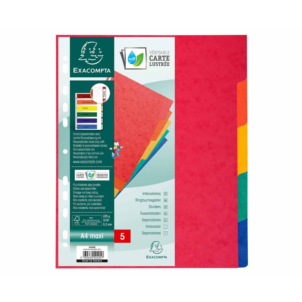 Exacompta Nature Future Dividers 5 Part A4 Plus 225gsm Pack of 25