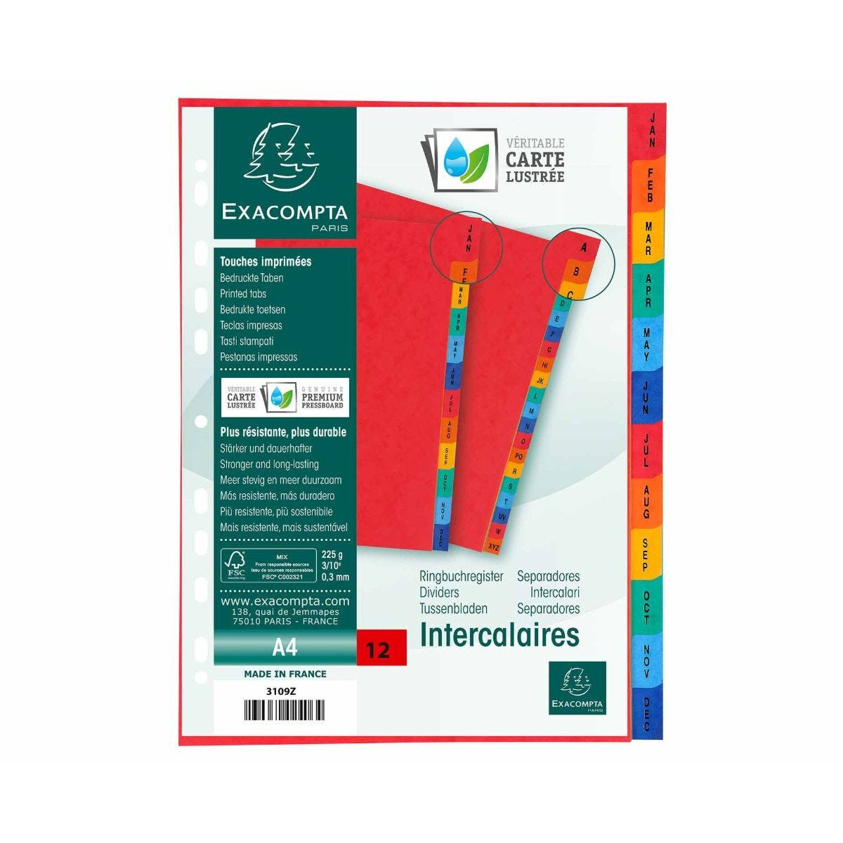 Exacompta Europa Dividers Mylar Printed Indices Jan-Dec A4 225gsm Pack of 5
