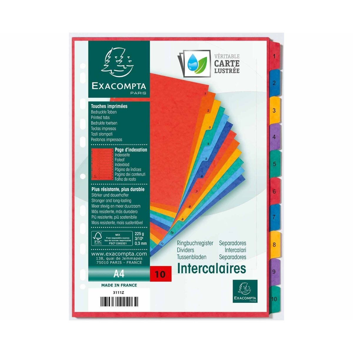 Exacompta Europa Dividers 1-10 A4 225gsm Pack of 10