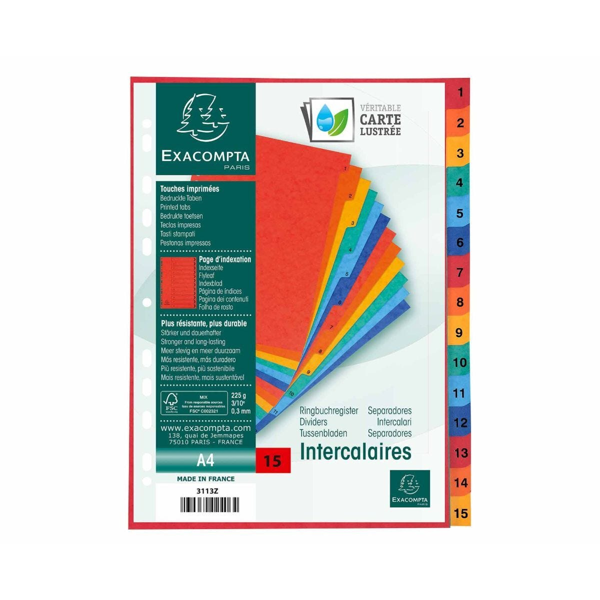 Exacompta Europa Dividers 1-15 A4 225gsm Pack of 8
