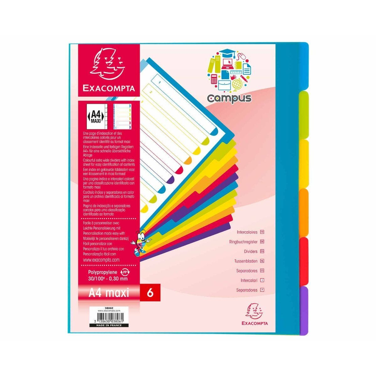 Exacompta Campus Dividers 6 Section A4 Maxi Pack of 25