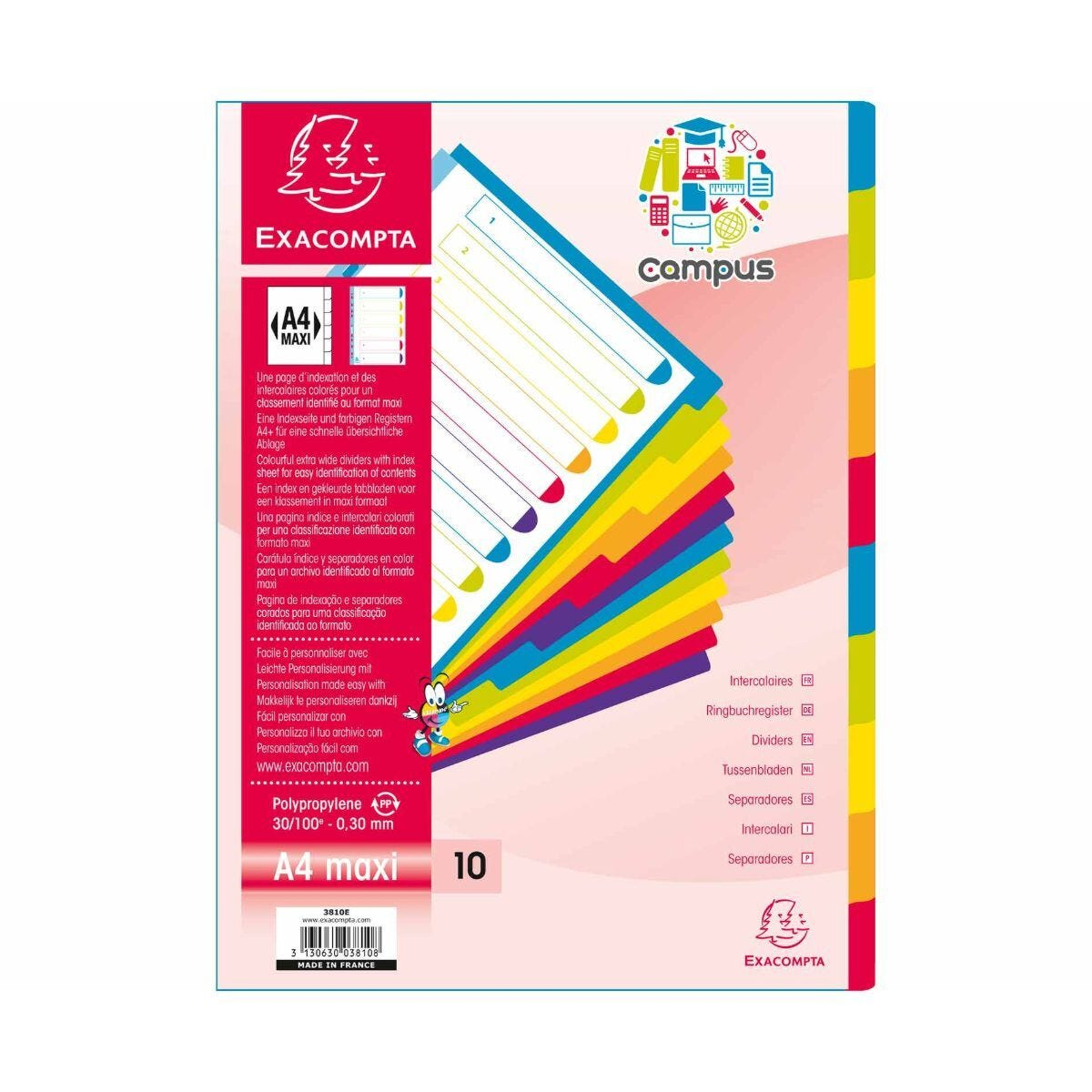 Exacompta Campus Dividers 10 Section A4 Maxi Pack of 15