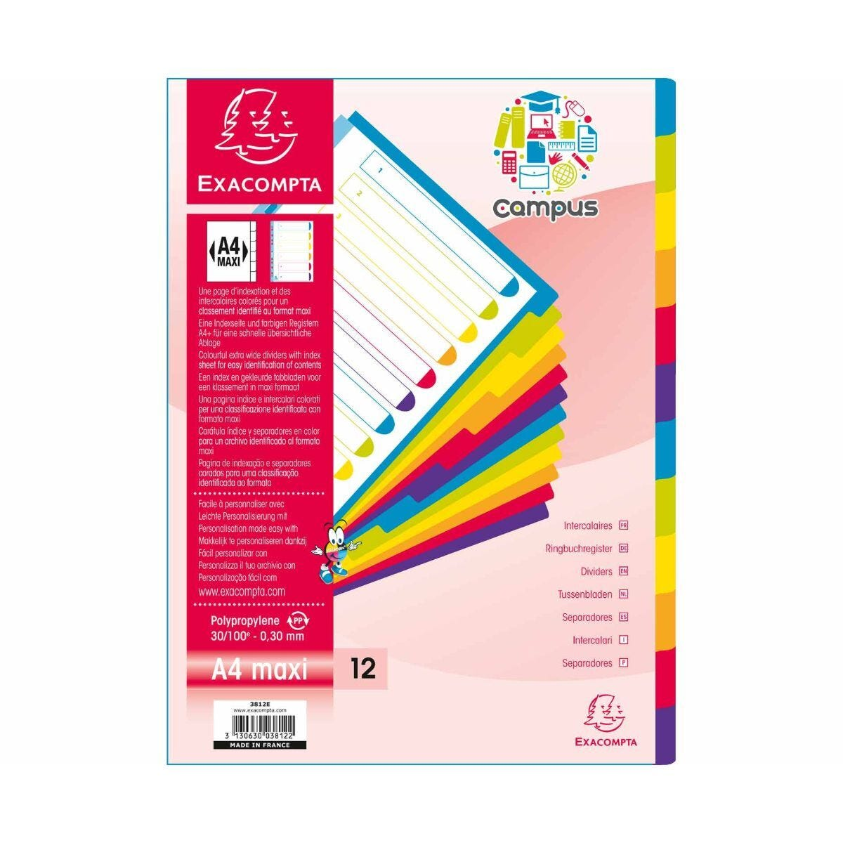 Exacompta Campus Dividers 12 Section A4 Maxi Pack of 15
