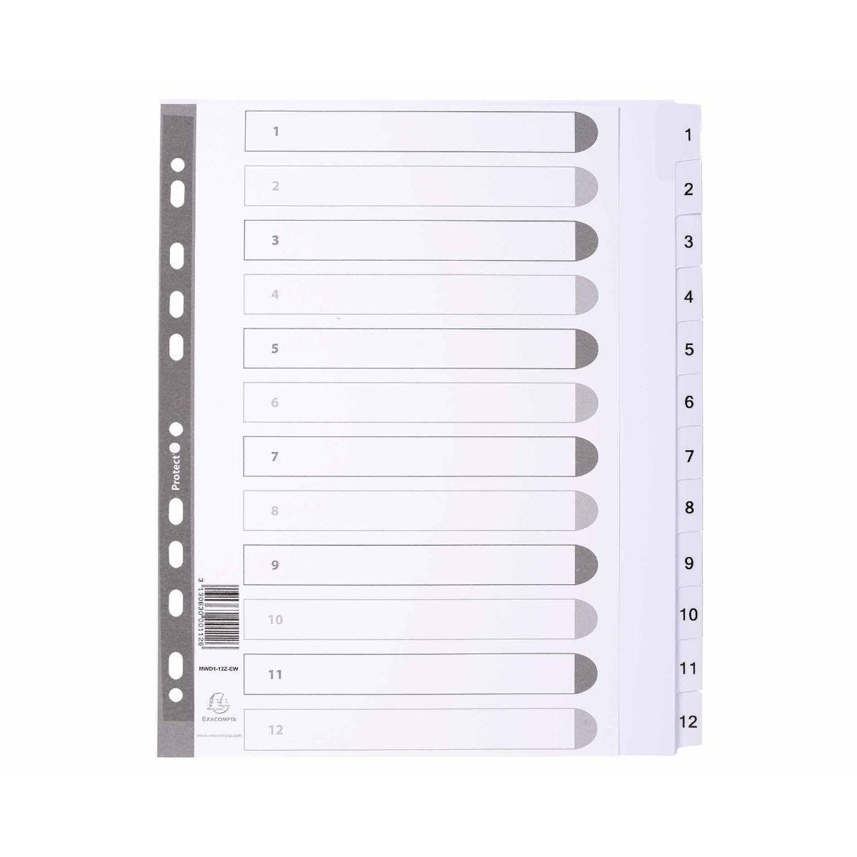 Exacompta Dividers 1-12 A4 Maxi 160gsm Pack of 25