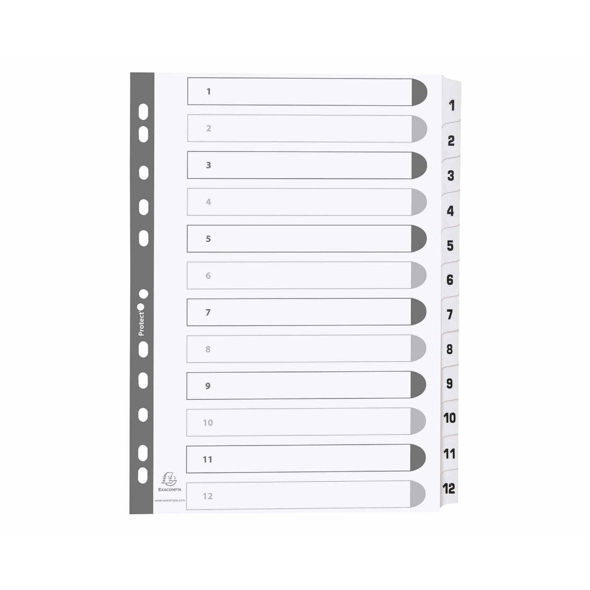 Exacompta Mylar Dividers 1-12 A4 160gsm Pack of 25