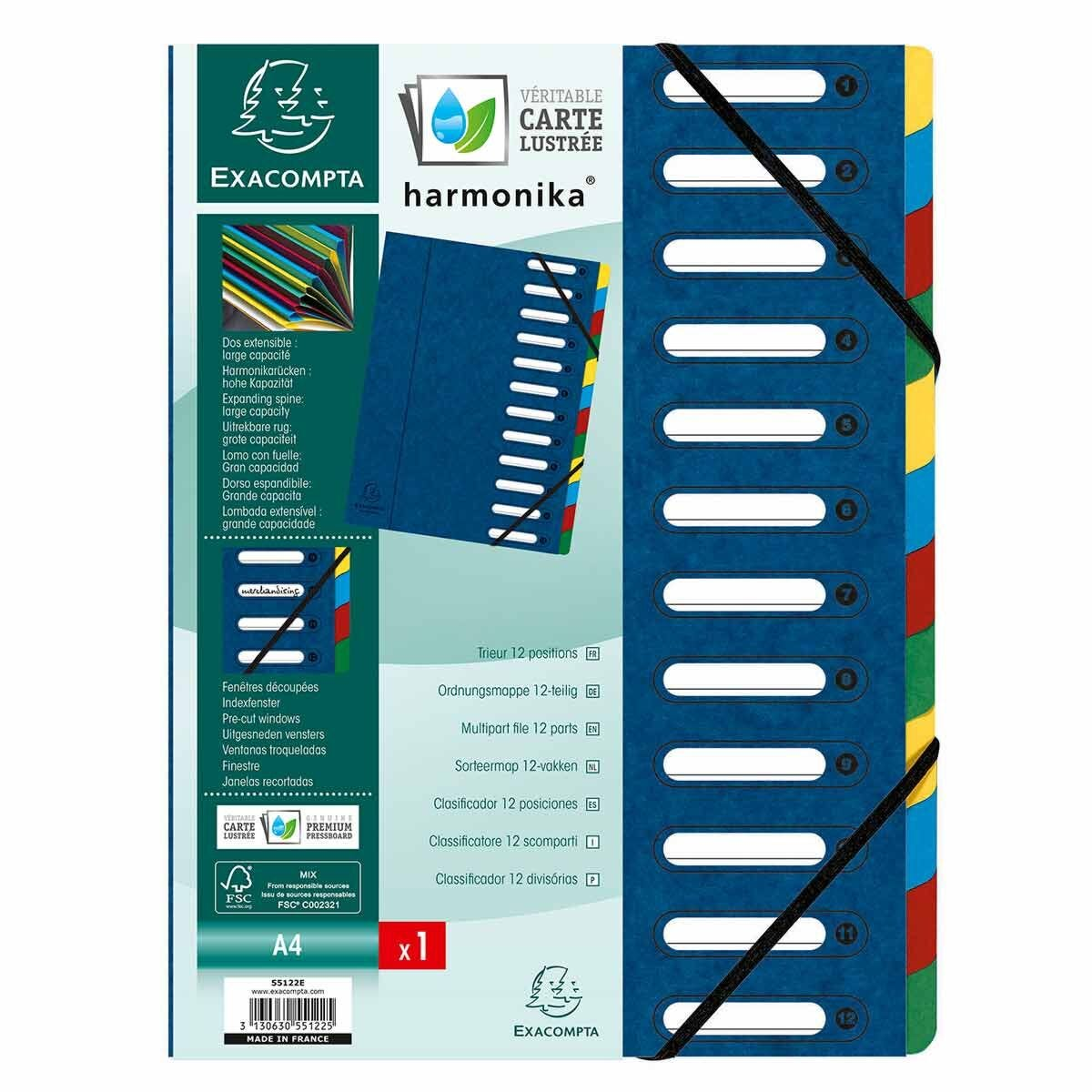 Exacompta Harmonika Multipart File A4 12 Part Pack of 6